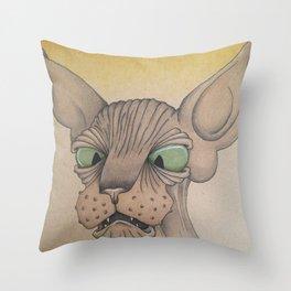 Cross-Eyed Sphynx Throw Pillow