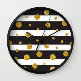 Stylish Elegant Stripes 1 (with Golden Dots) Wall Clock