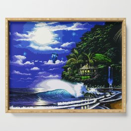 Tardis Art And The Moon Shine Serving Tray