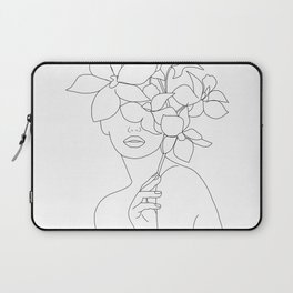 Minimal Line Art Woman with Orchids Laptop Sleeve