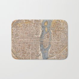 Vintage Map of Paris (1550) Bath Mat