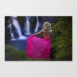 Lady at waterfall Canvas Print