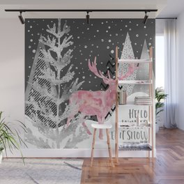 GRAPHIC ART SILVER Hello winter let it snow Wall Mural