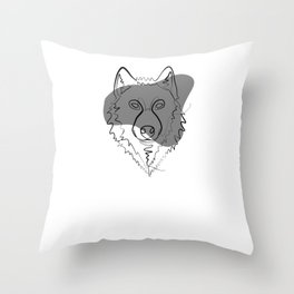 Wolf - One Line Drawing Throw Pillow