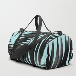 Palm Tree Fronds Black on Cyan Hawaii Tropical Duffle Bag