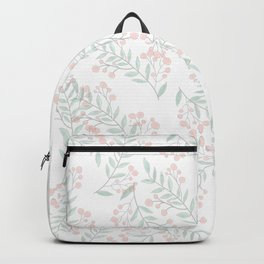 Coral Green Foliage Berries Greenery Plant  Backpack