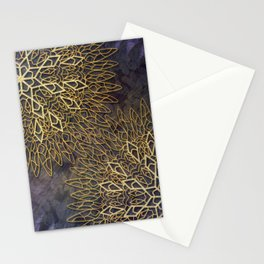 Gold Mandalas on Violet Background Stationery Cards