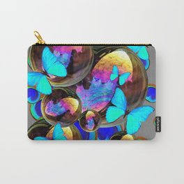BLUE & GOLD  BUBBLES BLUE BUTTERFLIES PEACOCK EYES Carry-All Pouch