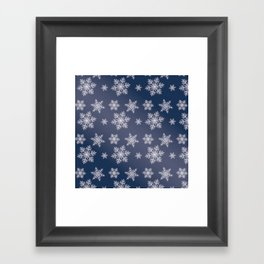 Snowflakes in the night Framed Art Print