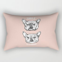 Smile It's Friday Frenchie Rectangular Pillow