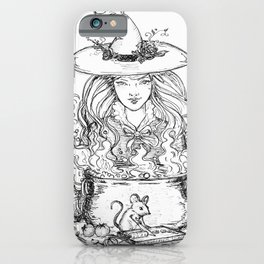 kitchen witch black and white iPhone Case