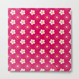 Bright floral pattern on a red background . Metal Print