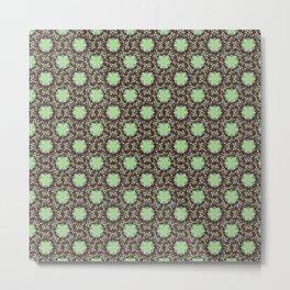 Floral Damask Molasses Metal Print
