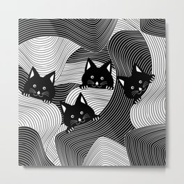 Hidden Kitties Metal Print