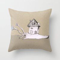 snail Throw Pillows featuring Snail by Bwiselizzy
