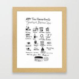 Tom Haverford's 16 Greatest Business Ideas Framed Art Print