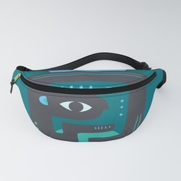 Mother Earth - Minimal Mid-Century Modern Teal Fanny Pack