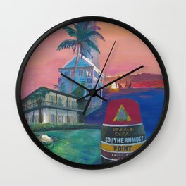 Key West Florida Southernmost Dreams Retro Travel Vintage Poster Wall Clock