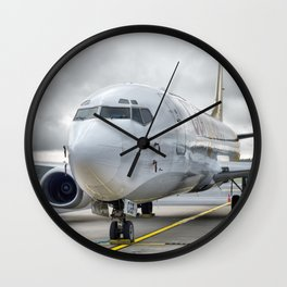 The plane at the airport on road Wall Clock