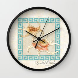 Starfish Nautilus Lambis Chiragra Modern Ocean Shell Beach Striped Wall Clock