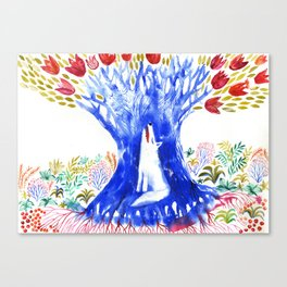 Magic Tree and Wolf Canvas Print