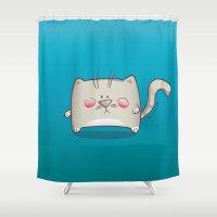 kitty Shower Curtains featuring Kitty by jebirvoki