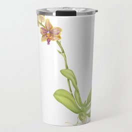 Pink and yellow flowering orchid Travel Mug