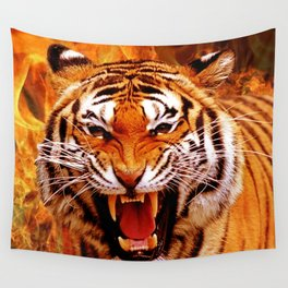 Tiger and Flame Wall Tapestry
