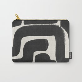 Black Ink Paint Brush Strokes Abstract Organic Pattern Mid Century Style Carry-All Pouch