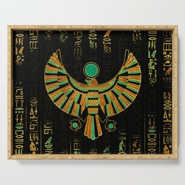 Egyptian Horus Falcon gold and color crystal Serving Tray