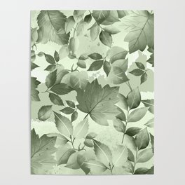 Watercolor Autumn Leaves 3 Poster