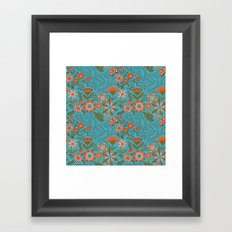 Fantasy Floral in Blue and Orange Framed Art Print
