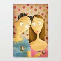lovers Canvas Prints featuring Lovers by gazonula