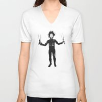 edward scissorhands V-neck T-shirts featuring Edward Scissorhands by Steal This Art