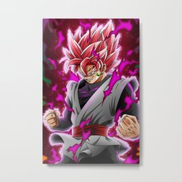 Goku Black Rose Metal Print