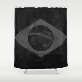 Black Brazil Flag Shower Curtain