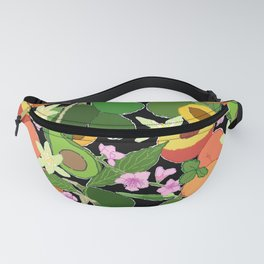 Avocado + Peach Stone Fruit Floral in Black Fanny Pack