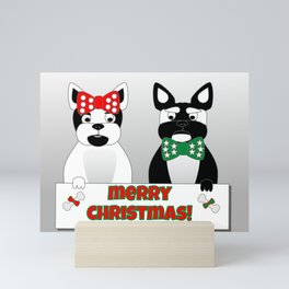 French Bulldog Christmas Couple Mini Art Print