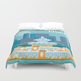 Chicago, Illinois - Skyline Illustration by Loose Petals Duvet Cover