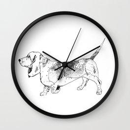 Basset Hound Ink Drawing Wall Clock