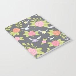 Garden of Fairies Pattern in Grey Notebook