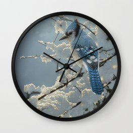 Blue Jay - On the Fence Wall Clock