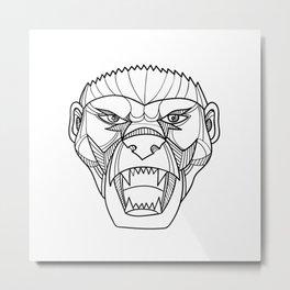 Honey Badger Head Monoline Metal Print