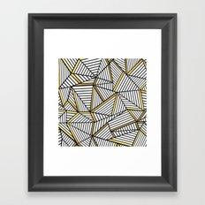 Ab Lines 2 White Gold Framed Art Print