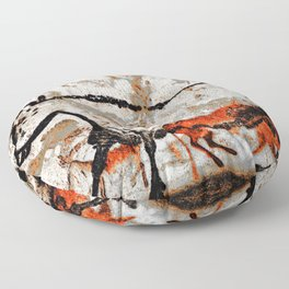Prehistoric Bull Lascaux Cave Painting Floor Pillow