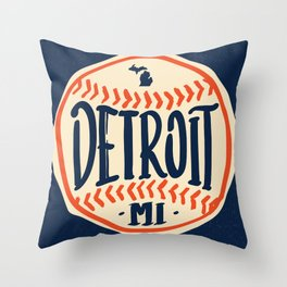Detroit Michigan Hand Drawn Script Design Throw Pillow