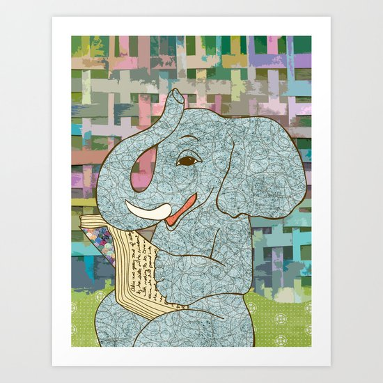 Elephant Reading Art Print