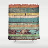 coffe Shower Curtains featuring Wooden Vintage  by Patterns and Textures