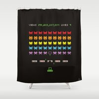 internet Shower Curtains featuring Internet Cat Invaders by Phil Jones