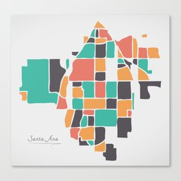 Santa Ana California Map with neighborhoods and modern round shapes Canvas Print